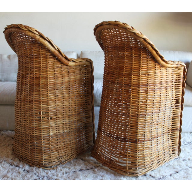 We couldn't imagine a more evocative, unique, and lovely pair of vintage bar stools if we tried! Hand-woven of heavy,...