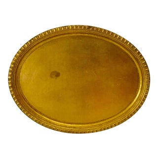 Italy PF4 Oval Gilt Wood Serving Bar Tray For Sale
