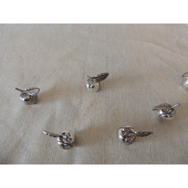 Vintage Stainless Steel Dinner Table Place Card Holders With fruit motif Size: 0.5 x 0.5 x 0.5