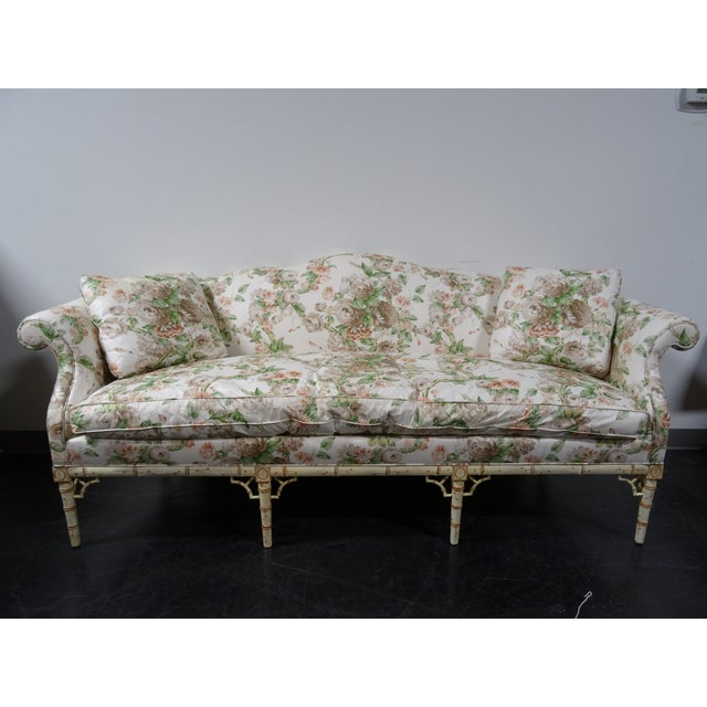 Hickory Chair Co. Floral Camel Back Bamboo Sofa - Image 2 of 11