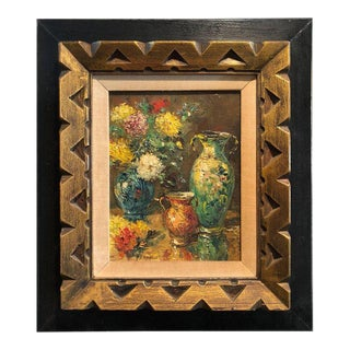 Mid-Century Impasto Still Life Painting by Fronville For Sale