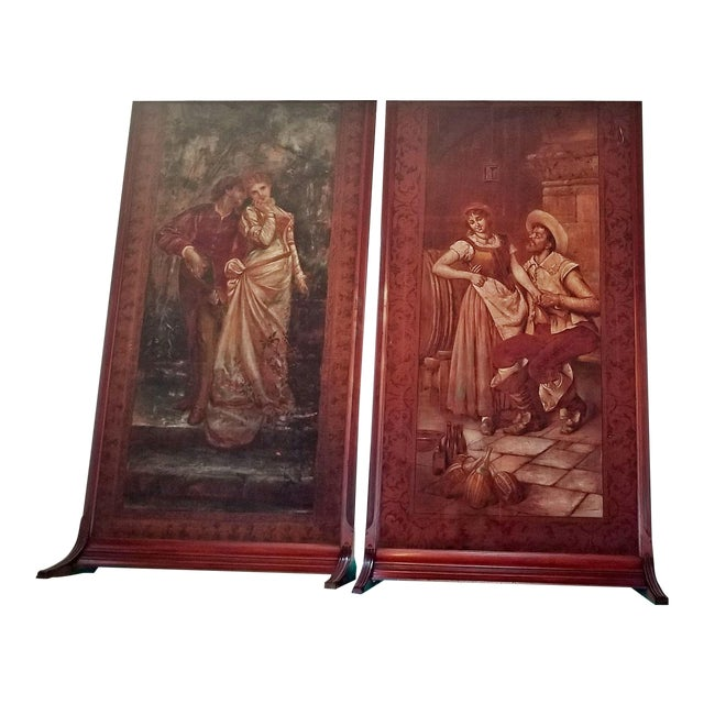 Pair of Monumental Framed Italian 18c Painted Tapestries For Sale