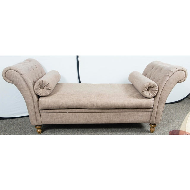Wood Custom Upholstered Bench With Tufted Rolled Arms For Sale - Image 7 of 7