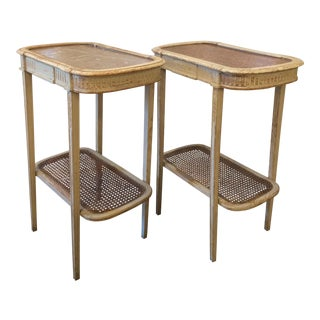 French Napoleon III White Side Tables with Caning and Marble - A Pair