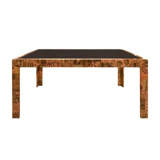 a5c7dbae8ddda3 1970s Paul Evans Patchwork Metal Dining Table With Smoked Glass Top For Sale