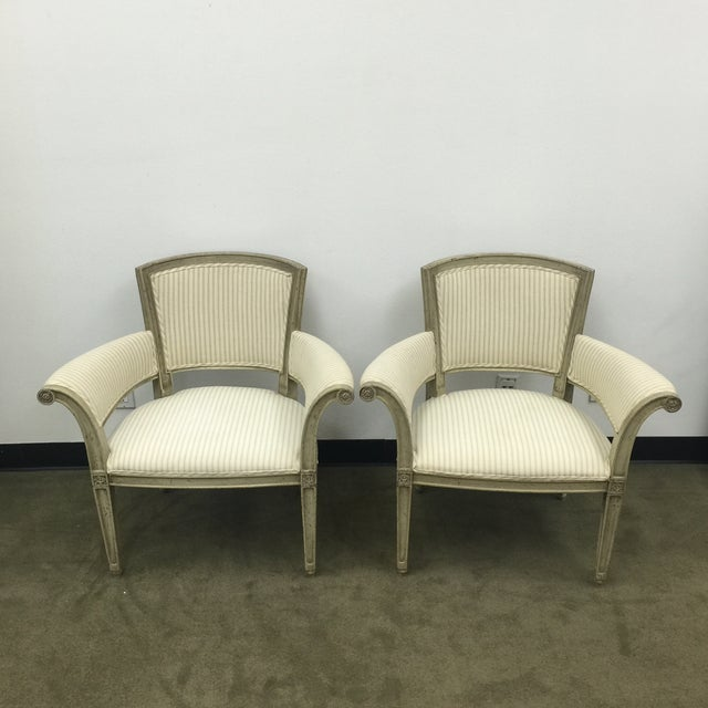 Antique Flare Arm Chairs in Rose Tarlow Fabric - A Pair - Image 7 of 8