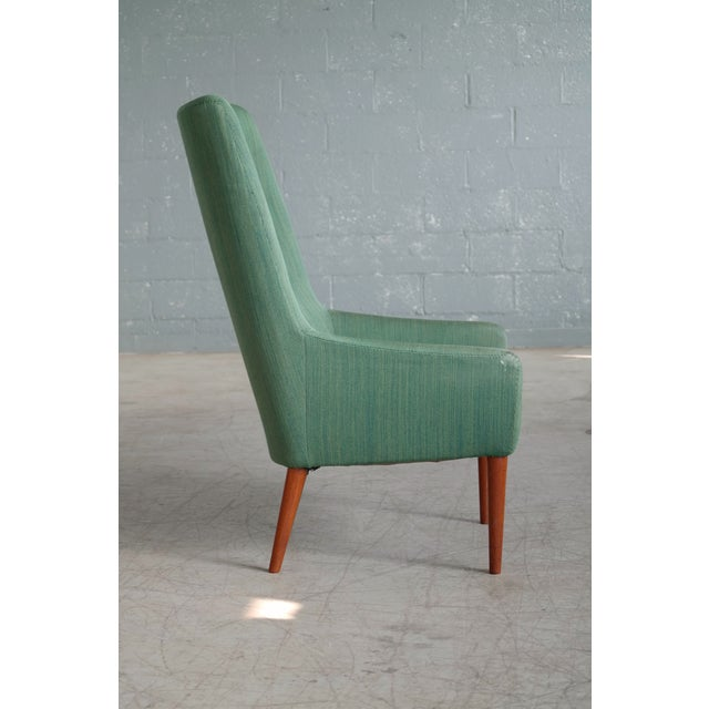 1960s Danish 1950's Green Easy Chair With Footstool by Jacob Kjaer For Sale - Image 5 of 12