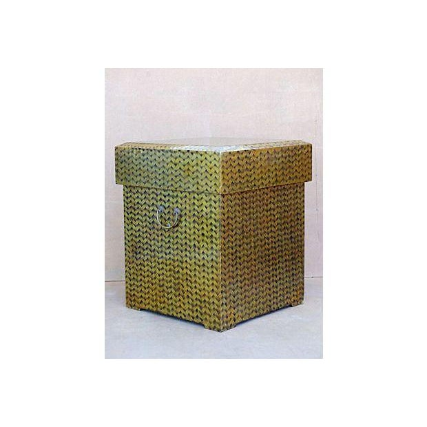 Hollywood Regency Gold Lacquered Covered Trunk For Sale - Image 3 of 11