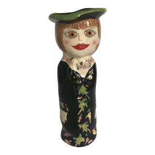 Bella Casa Susan Paley Hand Painted Ceramic Vase For Sale