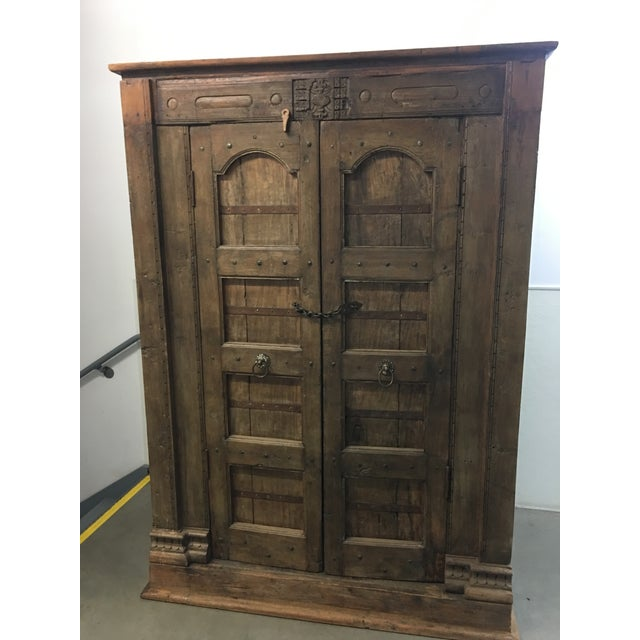 Handmade Antique Wooden Armoire - Image 2 of 9