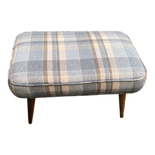 Wool Upholstered Bench With Mid Century Legs For Sale