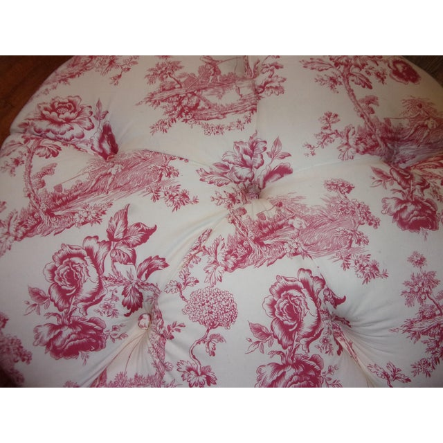 Traditional French Rose Toile Ottoman With Custom Braid and Band Trims For Sale - Image 3 of 9