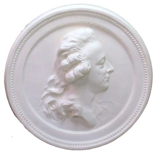 Swedish Portrait Plaster Medallion King Gustav III For Sale - Image 4 of 4
