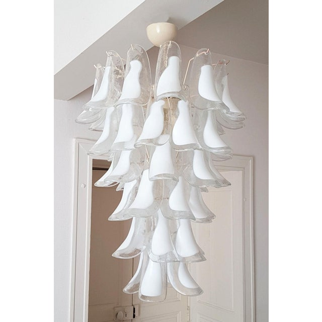 Italian White Mid Century Modern Murano Glass Chandelier, by Mazzega, 1970s- 2 Available For Sale - Image 3 of 10