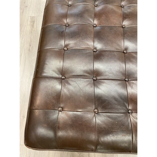 Leather Contemporary Lee Industries Large Brown Leather Square Ottoman Coffee Table For Sale - Image 7 of 9