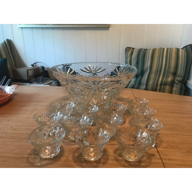 Anchor Hocking Star of David Punch Bowl Set For Sale - Image 10 of 10