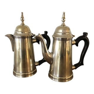Antique or Vintage Silver Plater Coffee and Tea Pot - a Set For Sale