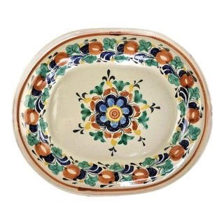 1990s Mexican Talavera Art Pottery Gto Mex Oval Serving Platter For Sale