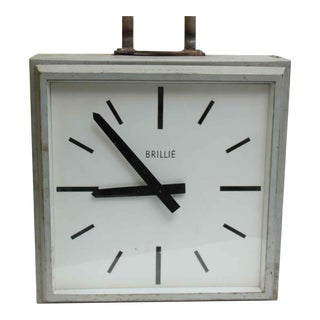 1960s Double Sided Hanging Brillie Clock For Sale