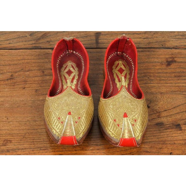 Gold and Red Embroidered Leather Shoes For Sale - Image 4 of 4