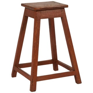 Simple Wooden Factory Stool From Late 19th Century France For Sale