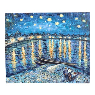 Van Gogh Ish Seaside at Night Oil Painting on Canvas, Signed For Sale