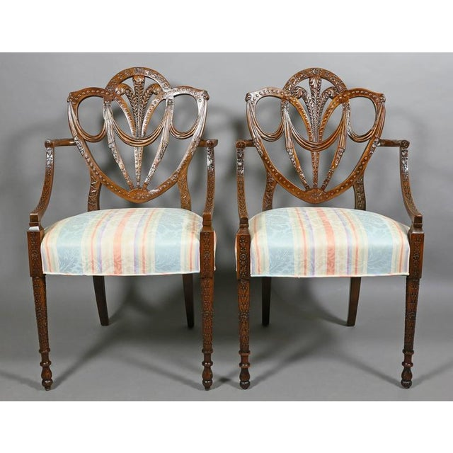 Pair of Edwardian Finely Carved Mahogany Armchairs For Sale - Image 10 of 10