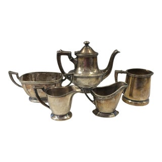 1920s Art Deco Collection of Small Hotel Silver Teapot, Creamers Sugar Bowl - 5 Pieces For Sale