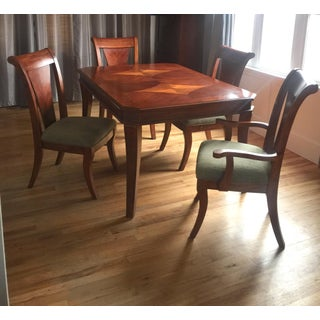 Biedermeier Style Inlaid Wood Dining Table and Chairs Preview