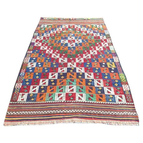 "Vintage Turkish Kilim Rug - 3'2"" x 5'2"" For Sale"