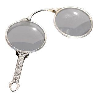 Early 20th Century 14k White Gold & Diamonds Lornette Opera Glasses, Art Deco For Sale