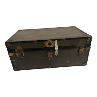 Vintage Industrial Drab Green Military Foot Locker Trunk For Sale