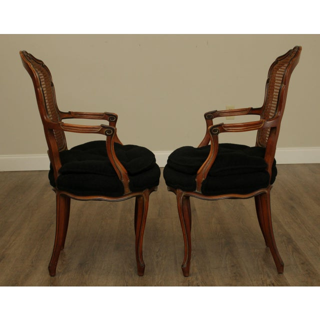 French 1950s French Louis XV Style Custom Quality Cane Back Fauteuil Armchairs - a Pair For Sale - Image 3 of 13