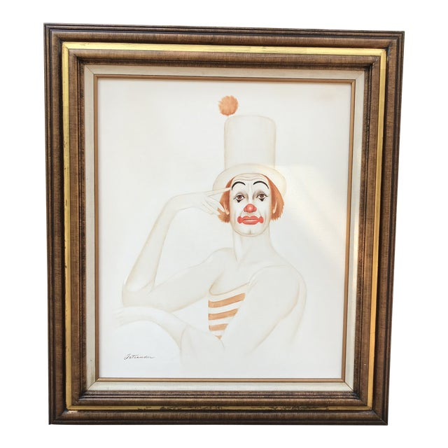 Original 20th Century Tangerine Clown Painting For Sale