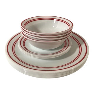 Vintage Red Stripe & White Corelle Dinnerware -Set of 14 For Sale