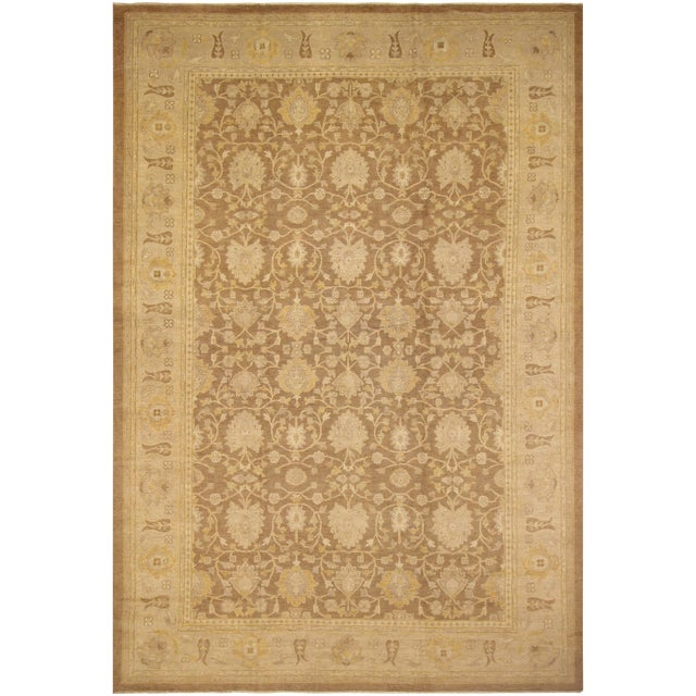 "Peshawar Audry Brown & Tan Wool Rug - 12' x 17'7"" For Sale"