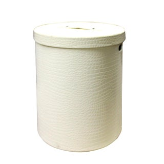 Leather Vinyl Cover Cream White Round Bucket Container Box Large For Sale