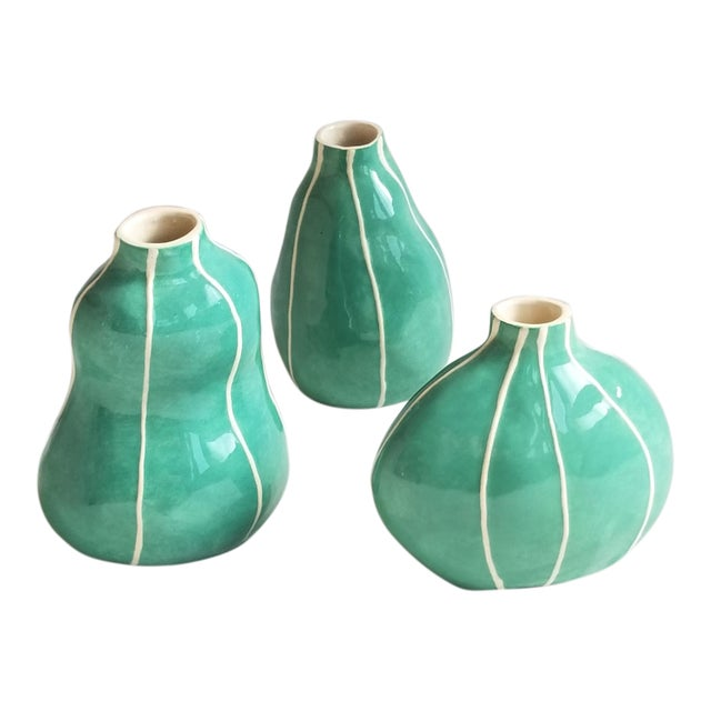 Green Bud Vases - Set of 3 For Sale