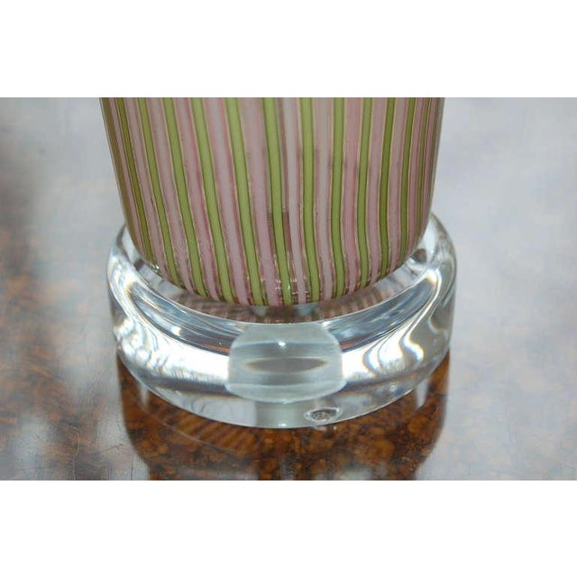 Dino Martens Murano Glass Table Lamps Pink Green Stripes For Sale In Little Rock - Image 6 of 8