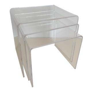 Vintage Lucite Nesting Tables - Set of 3 For Sale