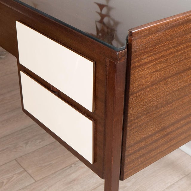 Mid-Century Modern Vintage Four Drawer Lacquered Wood Panel Desk For Sale - Image 3 of 5