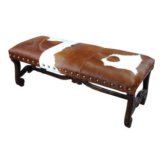 Western Cowhide Bench Ottoman W/ Carved Wooden Legs For Sale