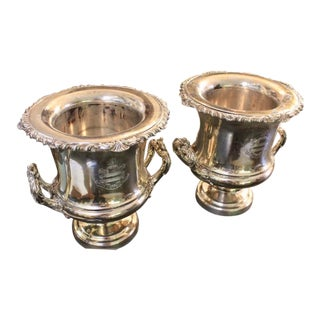 Antique English Matthew Boulton Sheffield Silverplate Wine Coolers - a Pair For Sale
