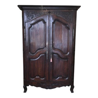 18th Century French Provincial Toile-Lined Armoire For Sale