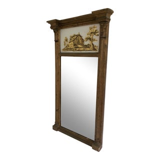 Federal Giltwood Mirror With Reverse Painted Panel For Sale