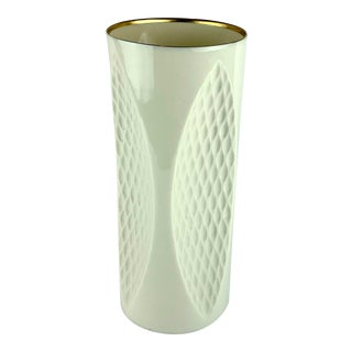 Vintage Lenox Porcelain and 24 Karat Gold Trimmed Vase For Sale