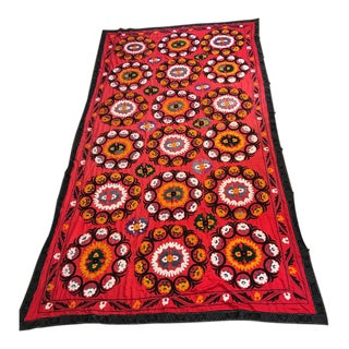 "Large Uzbec Suzani Embroidery 12'4"" X 6'11"" For Sale"