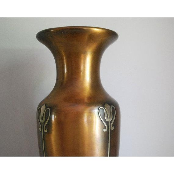 Art Nouveau Antique Heintz Art Metal Vase For Sale - Image 3 of 6
