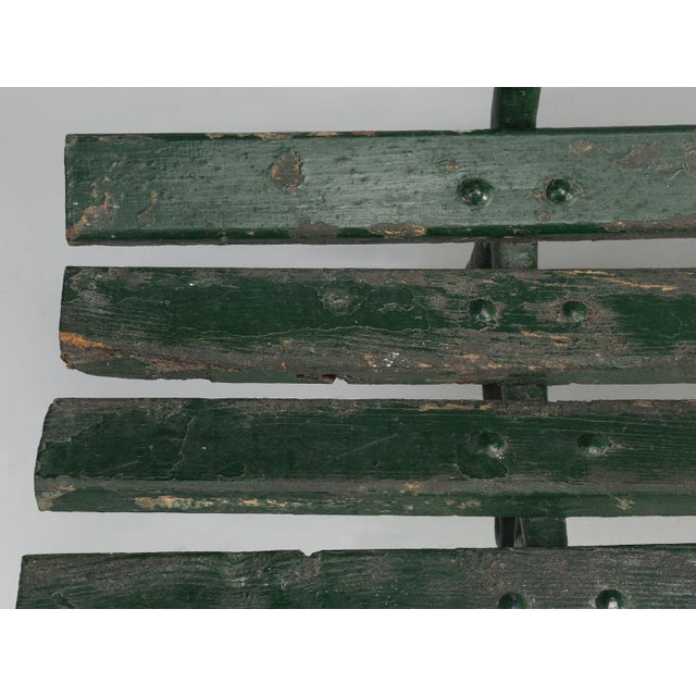 Antique French Cast Iron & Wood Garden Bench For Sale - Image 12 of 13