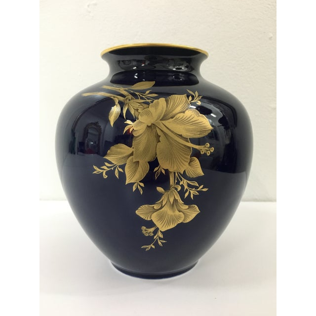 Cobalt Porcelain Vase With 22 Carat Gold Floral Motif by A. K. Kaiser W Germany For Sale - Image 11 of 11